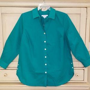 Nordstrom Foxcroft Wrinkle Free Shirt Teal 18W